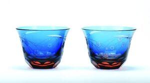 Guinomi-ochoko-EDO-attacco-VETRO-Giapponese-Sake-Cup-SAKURA-Pattern-Blu-Set-di-2