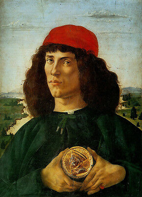 Oil painting Salome Guido Reni - Portrait of a Man with a Medal red cap canvas