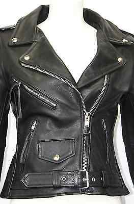 'BRANDO' Classic Biker Motorcycle Motorbike Hide Leather Jacket LADIES