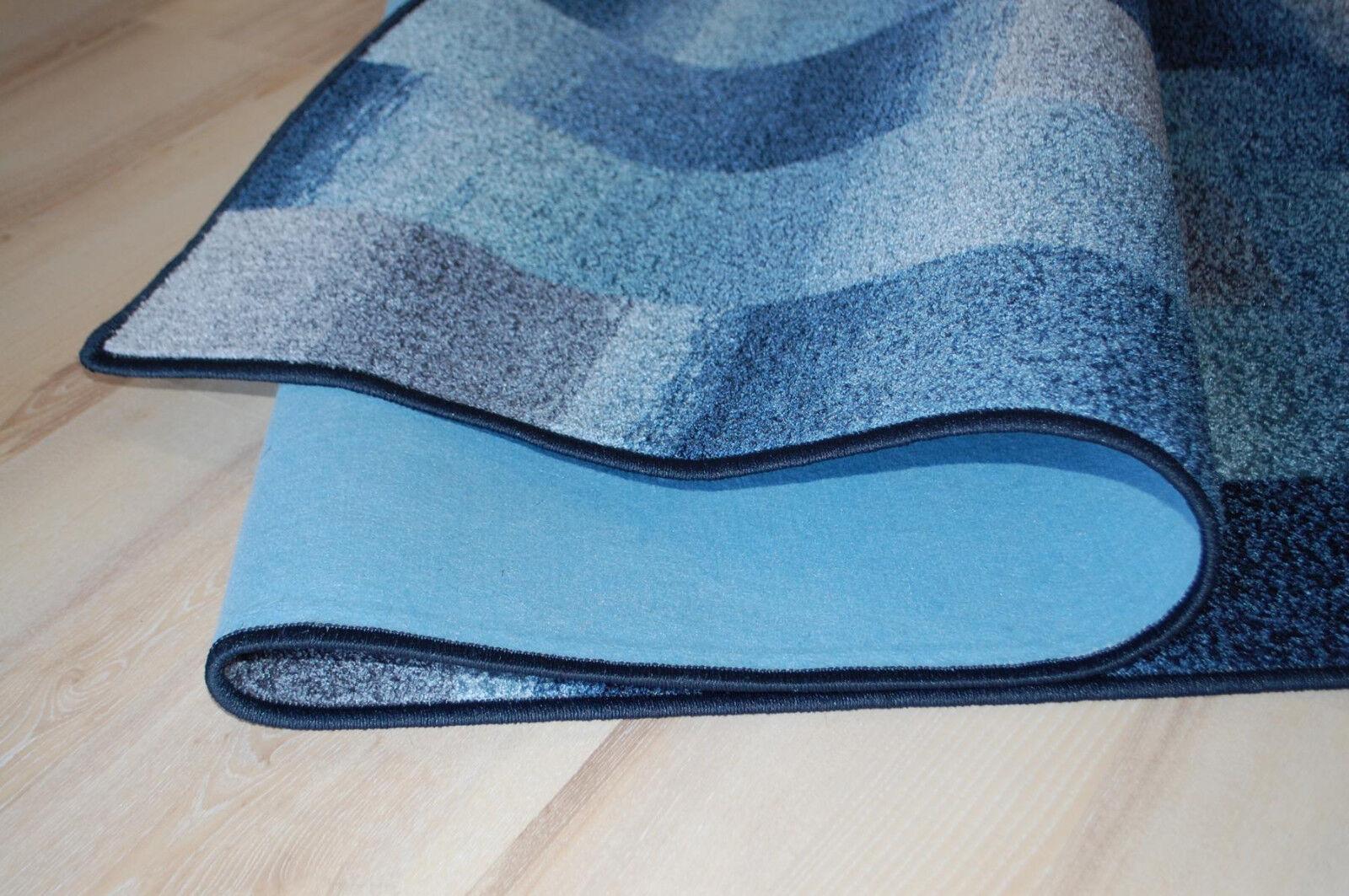 Karo Karo Karo Patchwork Teppich grau blau Velours umkettelt 200x410 cm Teppichboden a3e01b