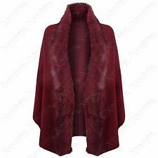 56b938f2226fd8 Ladies Women Luxury Celeb Wear Towie Hooded Soft Faux Fur Trim Shawl Cape