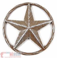Rustic Barn Star Brown Silver Metal Aluminum Rope Ring Texas Wall Decor 3D 8 in