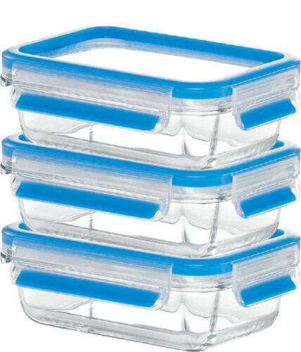 Emsa CLIP/&CLOSE GLAS Frischhaltedose Set Vorratsdose 3x0,5L Auflaufform ofenfest