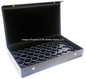 1 Black 6 Jar Box Wood Tray Display Gems Body Jewelry Gold Nugget