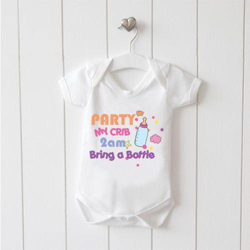 Party my Crib Baby Vest Baby Grow 100/% Cotton Boys Girls Bodys Cute