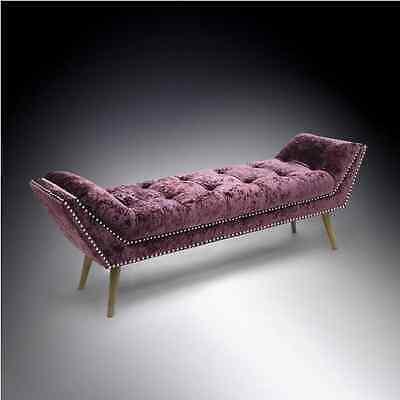 Montrose Chaise Longue Purple Silver Crushed Velvet Fabric