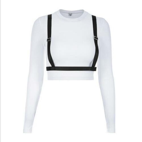 Woman Crop T-shirt Solid Color Long Sleeve Metal buckle Belt Crop T-shirt S-L