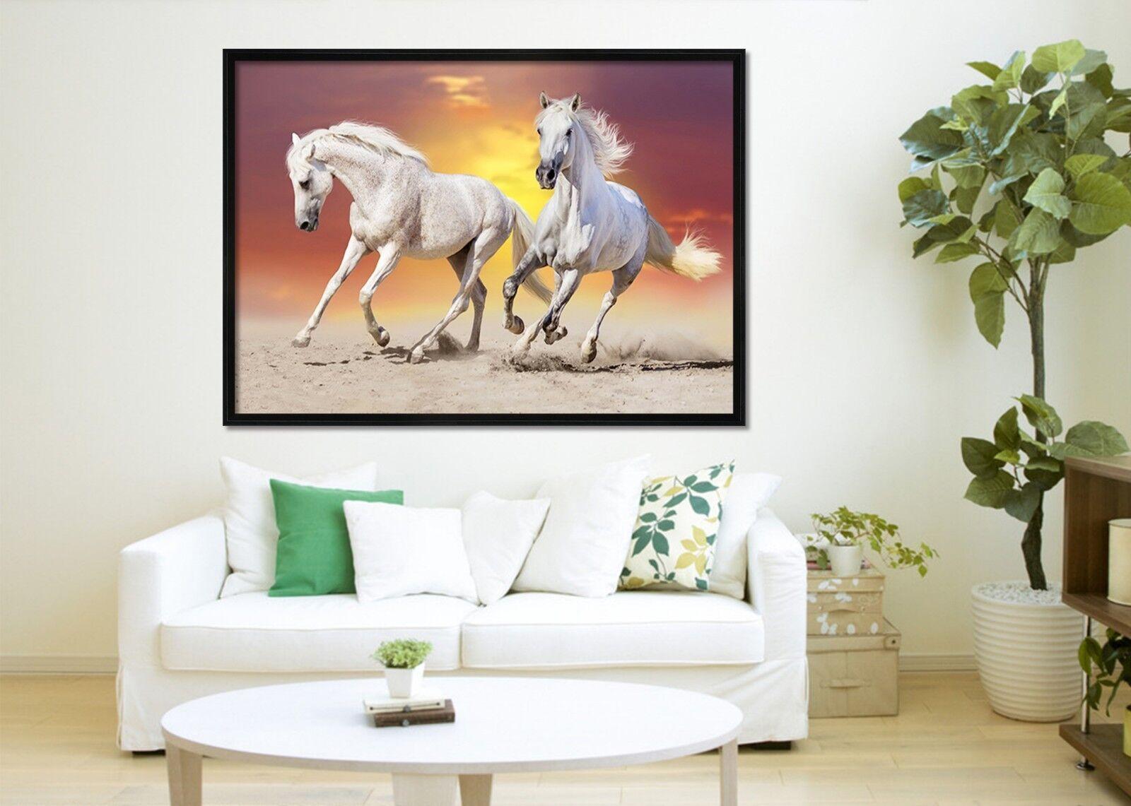 3D anochecer tierra caballos 2 Enmarcado Cartel Decoración del Hogar Pintura de Impresión Arte AJ Wallpaper