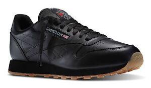 Reebok-Classique-Cuir-Noir-Gomme-Junior-Big-Kids-de-Course-Chaussures-Tennis