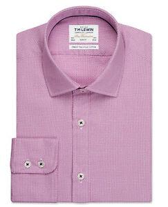 T-M-Lewin-para-Hombre-Azteca-Tejido-Calce-Ajustado-Camisa-Puno-unico-Magenta