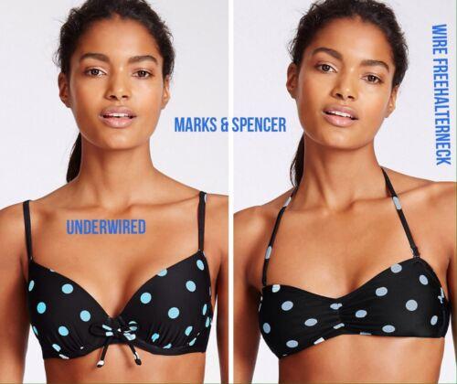 M&S a Puntini CINGHIE Con Ferretto & Allacciatura Dietro Il Collo Bikini Top Senza fili * 2 Stili *