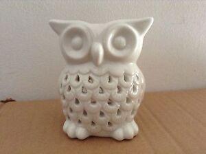 White Owl Oil Wax Burner - Ceramic Ornamental Tea Light Holder