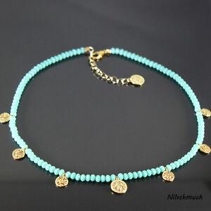 Damen-tuerkis-BICONE-Glas-Perlen-Kette-mit-Gold-Muenzen-45cm-Karabiner