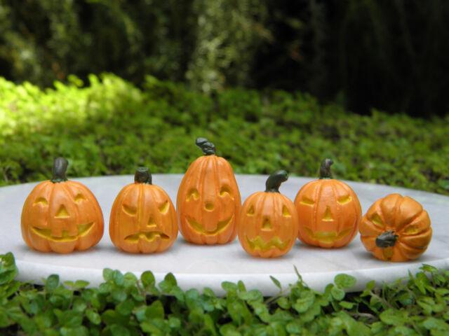 Miniature Dollhouse FAIRY GARDEN ~ 6 Tiny Halloween Jack 'O Lantern Pumpkins NEW