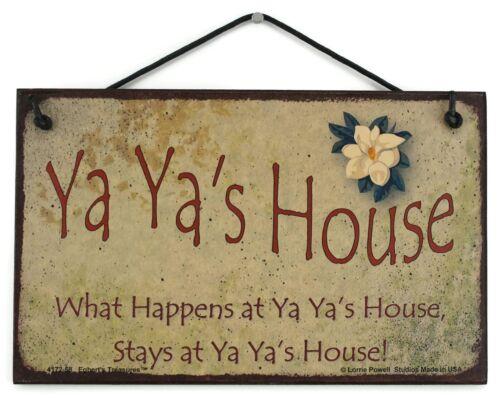 "5x8/"" Sign What Happens at Ya Ya/'s House Stays Grandma Mom Greek Parent Mother #1"