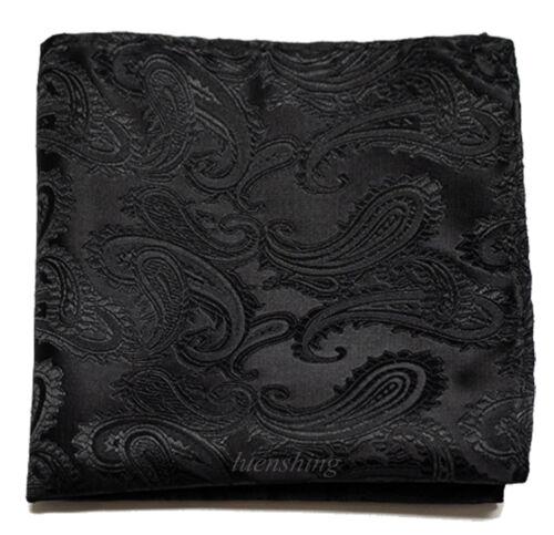 New Brand Q Men/'s micro fiber Pocket Square Hankie Only paisley Black