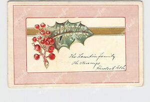 PPC-POSTCARD-MERRY-CHRISTMAS-HOLLY-GOLD-RIBBON-EMBOSSED