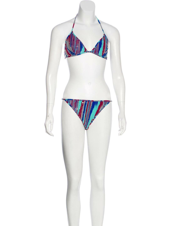 Missoni Pieces Caribbean Striped Swimsuit Set Size 44IT 8US NWT  595
