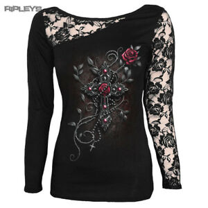 SPIRAL-DIRECT-Ladies-Black-Goth-ANGEL-BEADS-Lace-Top-L-Sleeve-All-Sizes