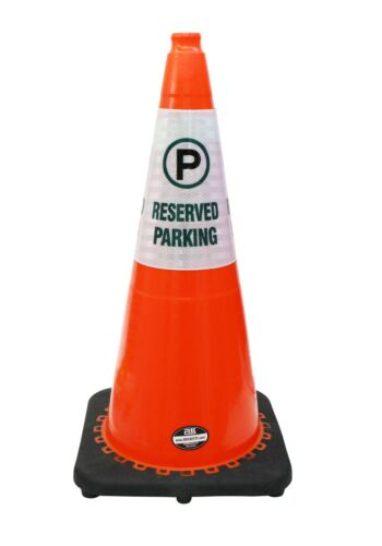 """RK 28/"""" Safety Traffic PVC Cones Black Base with Cone Sleeve"""