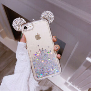 timeless design f90ea e1b75 Details about Float Holographic Heart Mickey Ear Liquid Waterfall Glitter  Disney Case iPhone