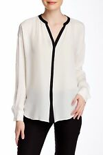VINCE Ivory Black Contrast Long Sleeve Tipped Popover Button Silk Blouse Top S