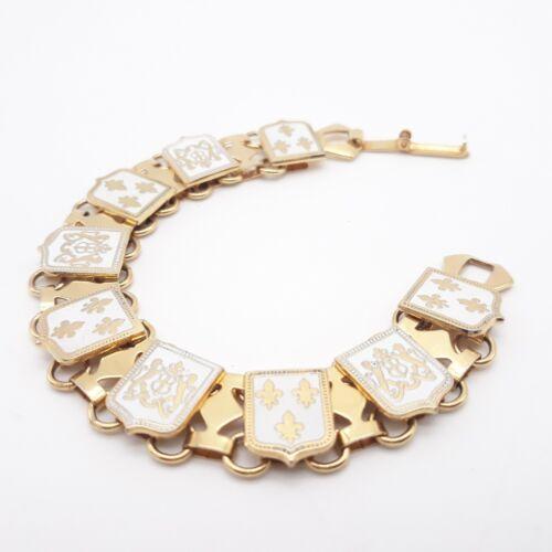 Vintage Heraldic Gold Enamel Bracelet Fleur De Lis