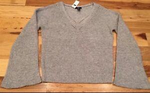 Gap-Women-s-2XL-XX-Large-Gray-V-Neck-Sweater-Nwt