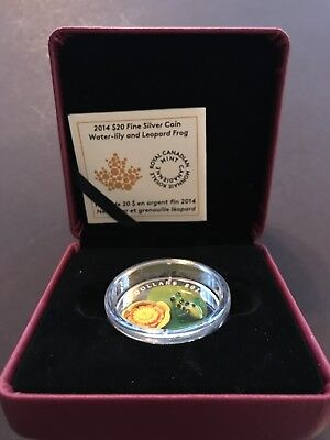 2014/'Water Lily and Leopard Frog Murano Glass NT 13876 Prf $20 Silver coin .9999