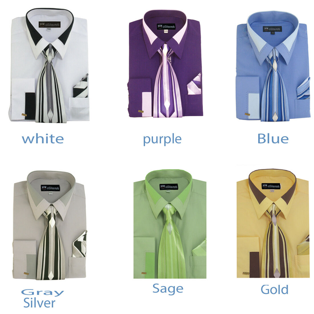 Tie Handkerchief Set Spread Collar  SG34 New Men/'s French Cuff Dress Shirt