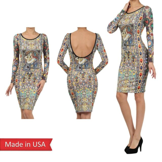 New Women Mosaic Art Multi Color Print Jewelry Charms Fitted Bodycon Dress USA