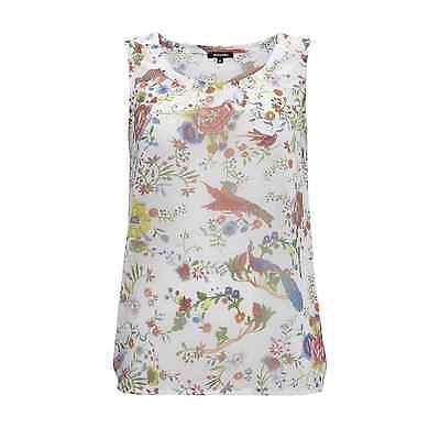 MORE & MORE Blusentop mit Blumen- und Vogelmuster Damen Bluse Weiß NEU