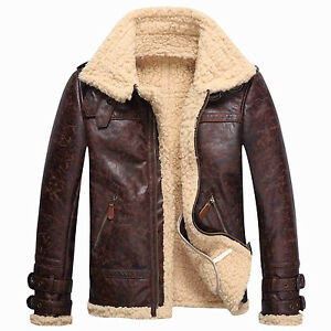 c13c5f19fb2 Mens Winter Coats Vintage Leather Lambs Fur Fleece Bomber Flight ...