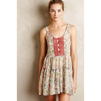 Anthropologie Paisley Print Dress Tunic Top Rust Chemise Tan Lace Fleur Wood