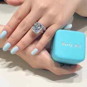 3-00-Ct-Cushion-Cut-Diamond-14k-White-Gold-Finish-Engagement-Wedding-Ring-Set