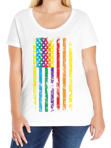 Distressed Rainbow American Flag LGBTQ Pride Love Curvy Tee