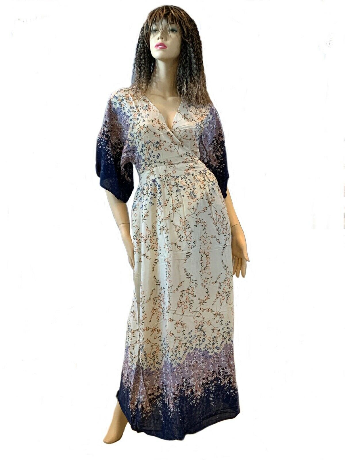 Image 2 of Dainty Floral Ivory Cream and Purple Romantic Maxi Dress S M or L, Lola's