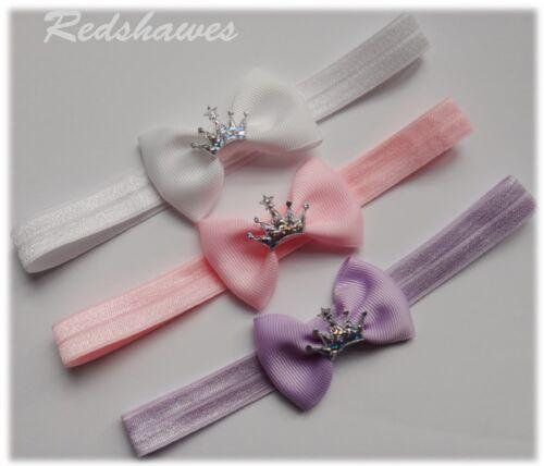 Princess Crown Bow Baby Headband FREE POSTAGE 5cm bow
