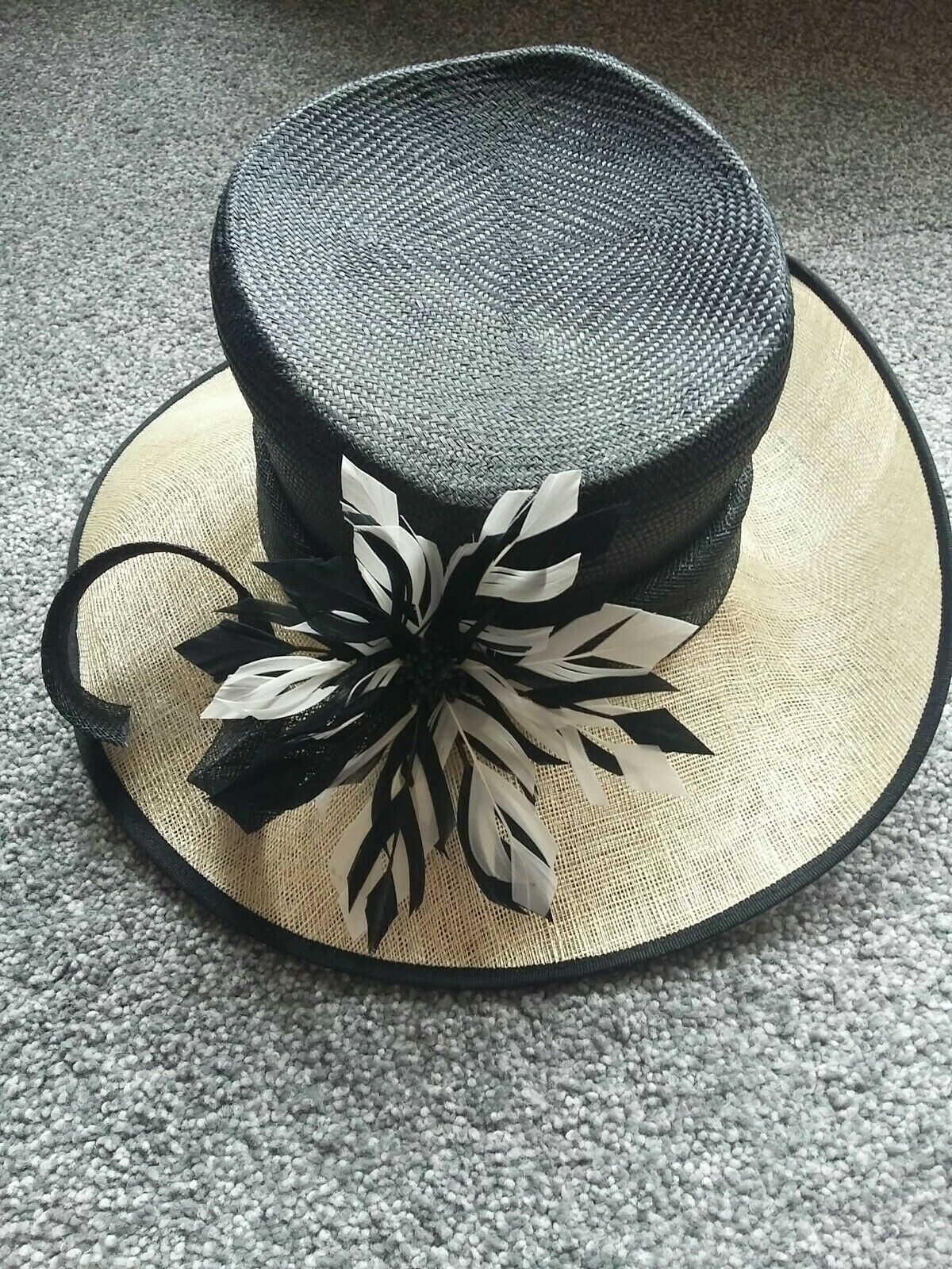 Jacques Vert Black & Natural Hat Feather Rosette Bow Wedding Races Formal