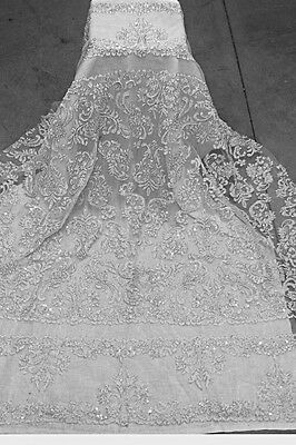 """WHITE/SILVER CORDED EMBROIDERY BEADS SEQUINS BRIDAL LACE FABRIC 52"""" WIDE 1 YD"""