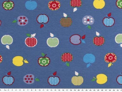 150cm Äpfel Kinderstoff blau Baumwolljersey