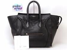 r57890 Auth CELINE Black Calfskin Leather Mini Luggage Shopper Hand Bag SHW