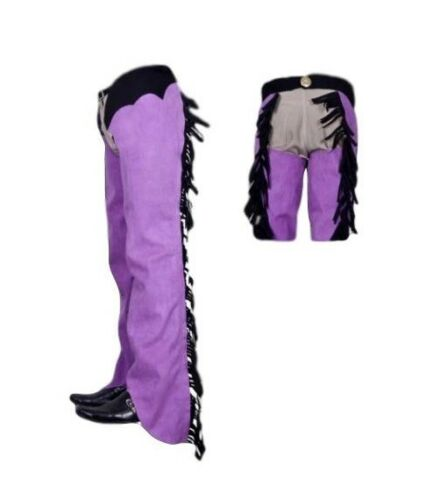 Borraq Shotgun Purple and Black Western Fringed Ammara Suede Long Chaps