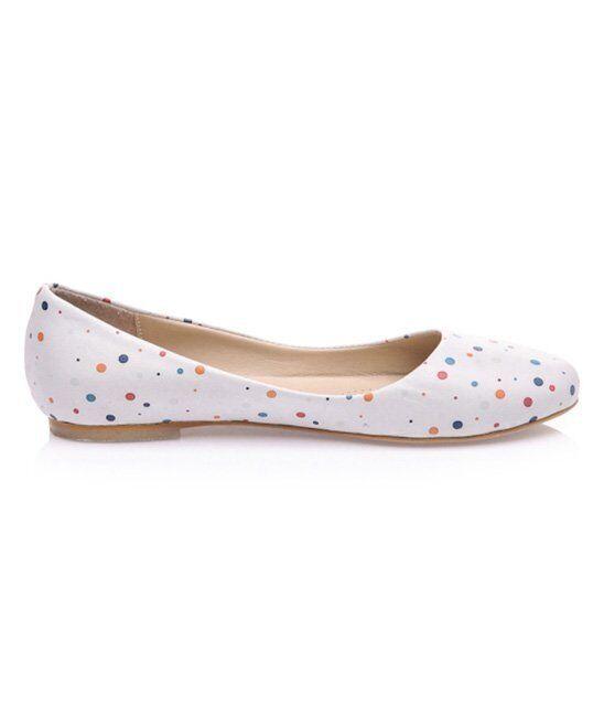 LOS OJO Woman's Zony Größe Weiß Leder ballet flats UK Größe Zony 7 36e8b9