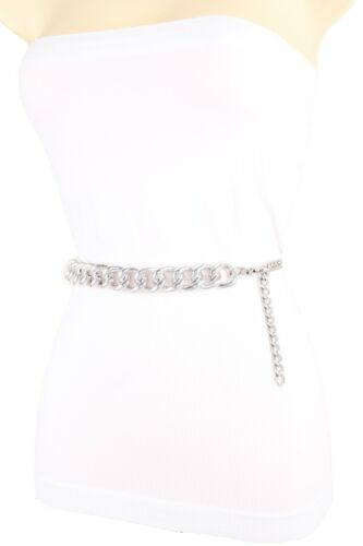 Women Silver Metal Chunky Chain Thick Links Band Fashion Belt Bling Plus XL XXL