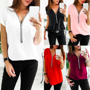 Summer-Women-Casual-Plus-Size-Zip-Up-V-Neck-Short-Sleeve-T-Shirt-Top-Welcome