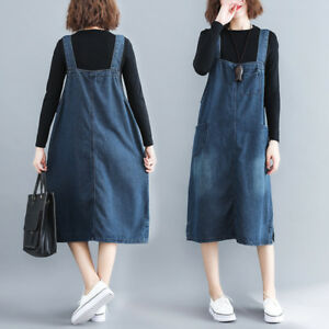 42e7b63f5e Image is loading Women-Basic-Casual-Loose-Denim-Strap-Dungaree-Overall-