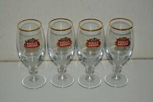 Nice-Vintage-STELLA-ARTOIS-Pedestal-Star-Belgium-Beer-Glass-Lot-of-4-MINTY-33CL