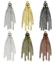 Chain Tassels 8 Strands Of Small Link Curb Chain With Scalloped Cap + Loop