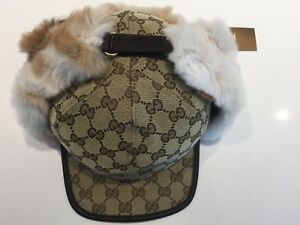 4c6b0f4b Image is loading GUCCI-UNISEX-BROWN-CAP-GG-MONOGRAM-CANVAS-LEATHER-